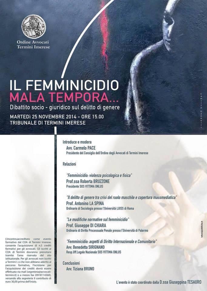 Femminicidio, al Tribunale di Termini un dibattito sugli aspetti socio – giuridici del reato