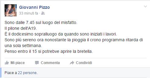 """Nuovo sopralluogo di Giovanni Pizzo sulla A19 """"entro il 15 novembre si potrebbe aprire la bretella"""""""