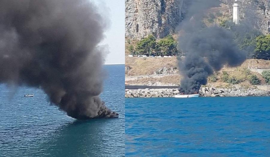 Panico al porto, a fuoco una motovedetta della Capitaneria