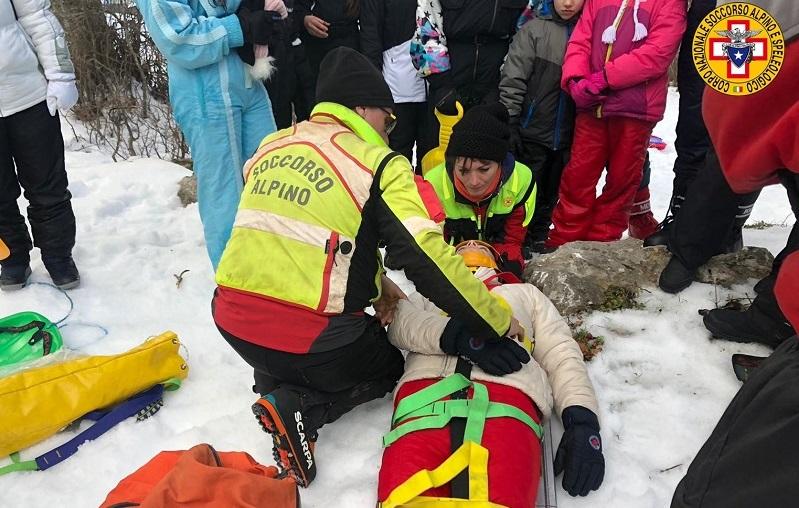 Travolto da uno slittino finisce al pronto soccorso con un trauma cranico